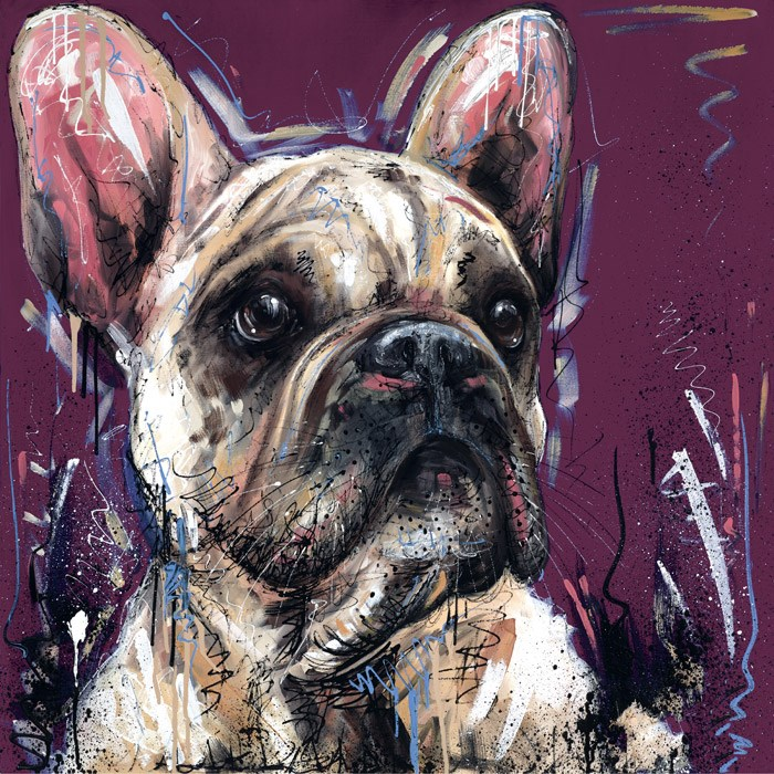 Posh Pooch by Samantha Ellis - Hand Finished Limited Edition on Canvas sized 20x20 inches. Available from Whitewall Galleries